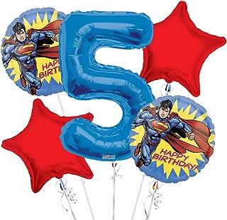 Superman Balloon Bouquet 5th Birthday 5 pcs - Party Supplies