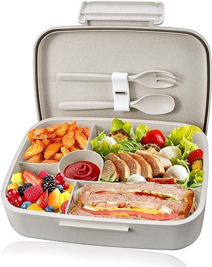 KUPBOX Brotdose Bento Box für Kinder, auslaufsichere Lunch Box mit fünf separat Fächer, BPA Frei, Geeignet für Mikrowellen und Spülmaschinen, kein…