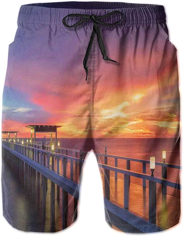 Wooden Bridge in The Port at Sunrise Horizon Candle Romantic Love Image Print Mens Swim Shorts Casual Workout Short Pants Drawstring Beach Shorts,XXL