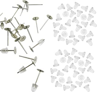 TOAOB 100 Pairs Stainless Steel Earring Posts Blanks Flat Pad Studs and Clear Rubber Earring Safety Backs Kit Jewelry Findings