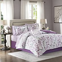Madison Park Essentials Lafael Full Size Bed Comforter Set Bed in A Bag - Purple, Grey, Vine Leaf – 9 Pieces Bedding Sets – Ultra Soft Microfiber with Cotton Sheets Bedroom Comforters