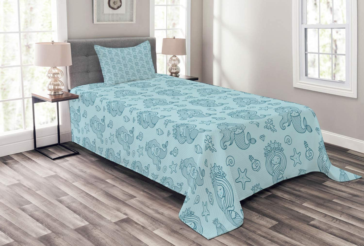 Great interest Lunarable Mermaid Bedspread Repetitive Marine Girl with Tail Max 80% OFF of