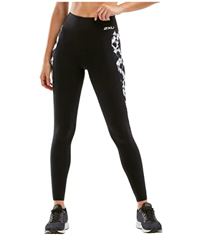 2XU Fitness Print High-Rise Compression Tights (Black/Textured Check) Women