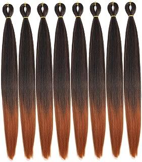 Ombre Pre-Stretched Braiding Hair 8 Pcs/Lot 24 inch Crochet Braiding hair Free Perm Yaki Straight Low Temperature Synthetic Fiber Braiding Hair (24