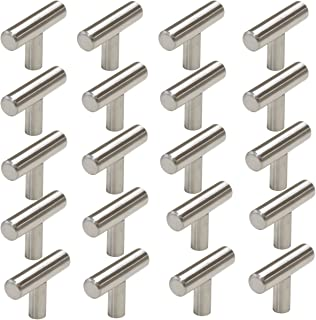 Probrico Stainless Steel Modern Cabinet Handles, Drawer Pulls, Kitchen Cupboard T Bar Knobs and Pull Handles Brushed Nickel - Single Hole - 20Pack