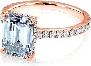 Kobelli Emerald-cut Forever One Moissanite Engagement Ring 2 7/8 CTW 14k Rose Gold