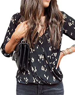 S-Fly Womens Casual Long Sleeve Loose Fit V-Neck Wrap Floral Print Shirts