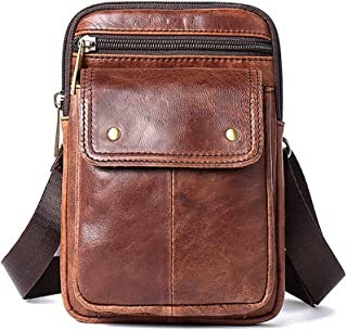 Men's Single Shoulder Diagonal Leather Small Square Bag,Casual Fashion Men's Pockets (Color : Brown, Size : M)