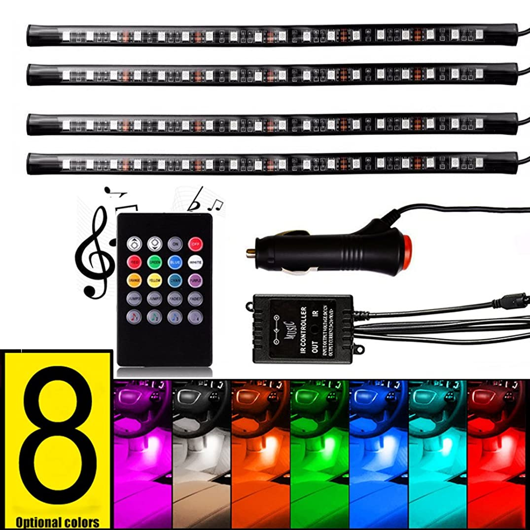 FICBOX 8 Color 72 LED Car Interior Light Atmosphere Lights Strip Waterproof Glow Neon Lighting Kit with Wireless Remote Sound Activated