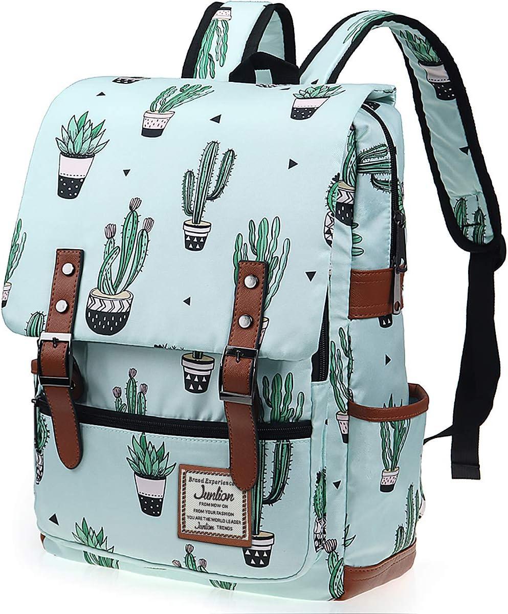 Junlion Cactus Mochila Delgada de Regalo para Niñas Mochila Escolar Mochila Universitaria Mochila de Viaje