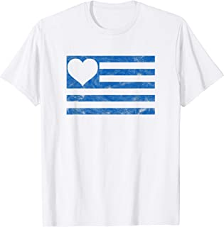 Love Greece with Greek Flag and Heart in Vintage Style T-Shirt