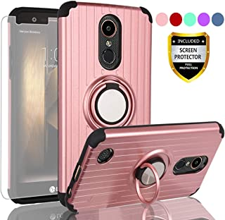 AYMECL LG K20 Plus Phones Cases,LG Harmony/K20/K20V/VS501/K10 2017/Grace LTE Case with HD Screen Protector,360 Degree Rotating Ring Holder Travel Case Scratchproof Cover for for LG LV5-SH Rose Gold