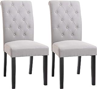 HOMCOM Lot de 2 chaises de Salle à Manger Chaise de cuicine Grand Confort Pieds en Bois Lin 47 x 55 x 100 cm