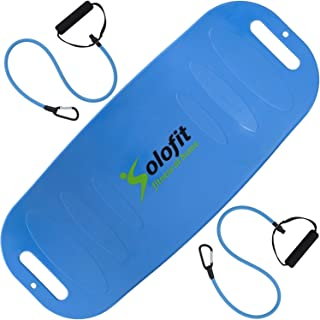 Solofit Balance Board with Resistance Bands - Fitness Board for Adults – The Abs Legs Core Workout Balancing Board - Ideal for Core Workout, Dancers, Ballet, Ankle Workouts, Balancing Exercises