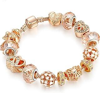 Rose Gold Diamond Coloured Glass Alloy Bead Bracelet Jewelry(20cm)