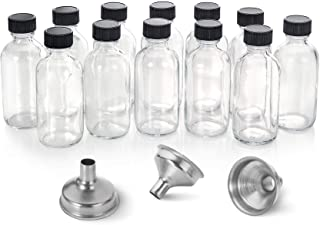 12, 2 oz Small Clear Glass Bottles (60ml) with Lids & 3 Stainless Steel Funnels - Boston Round Sample Bottles for Potion, ...