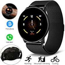Sport Smart Watch for Men Women Fitness Tracker Waterproof Smartwatch Heart Rate Blood Pressure Sleep Monitor 3 Sports Modes Compatible with iPhone Android Samsung S10e S10 Plus S9 S8 (Steel strap)