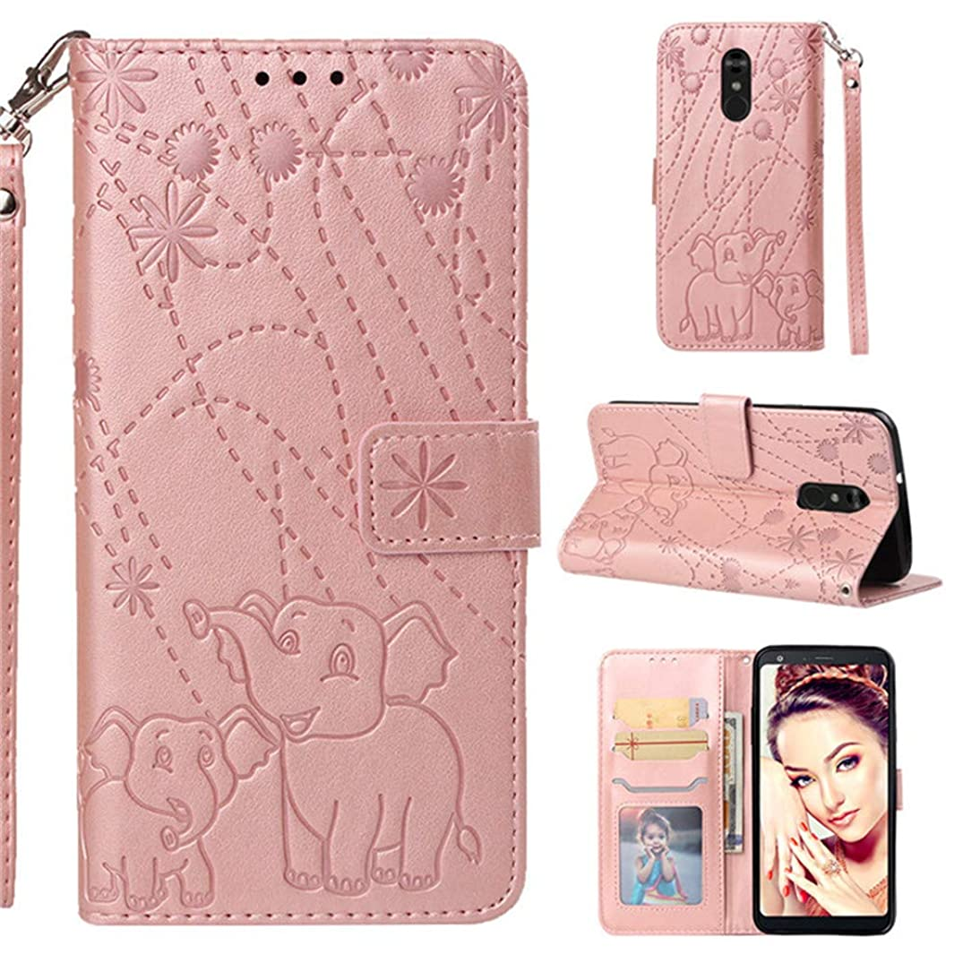 LHYIN LG Stylo 4 Wallet Case, Elephant Embossing Design Flip PU Leather [Card Slots] & [Kickstand Function] Magnetic Design Flip Phone Case Cover for LG Stylo 4/LG Stylo 4 Plus (Rose Gold)