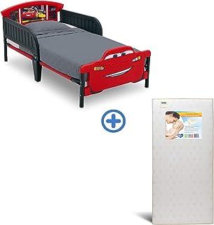 Delta Children 3D-Footboard Toddler Bed, Disney/Pixar Cars 3 Twinkle Stars Fiber Core Crib and Toddler Mattress