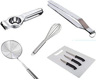 6 Piece Combo of Mostly Used Kitchen Items Chimta/Net Roaster/Fry Strainer/Chopping Board/Lemon Squeezer/Beater