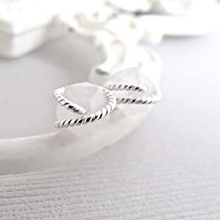 White Tourmalinated Quartz Earrings, Raw Quartz Studs, Diamond Cut Earrings Studs, Sterling Silver, Rough Quartz Earrings, Crystal Earrings, Quartz Studs