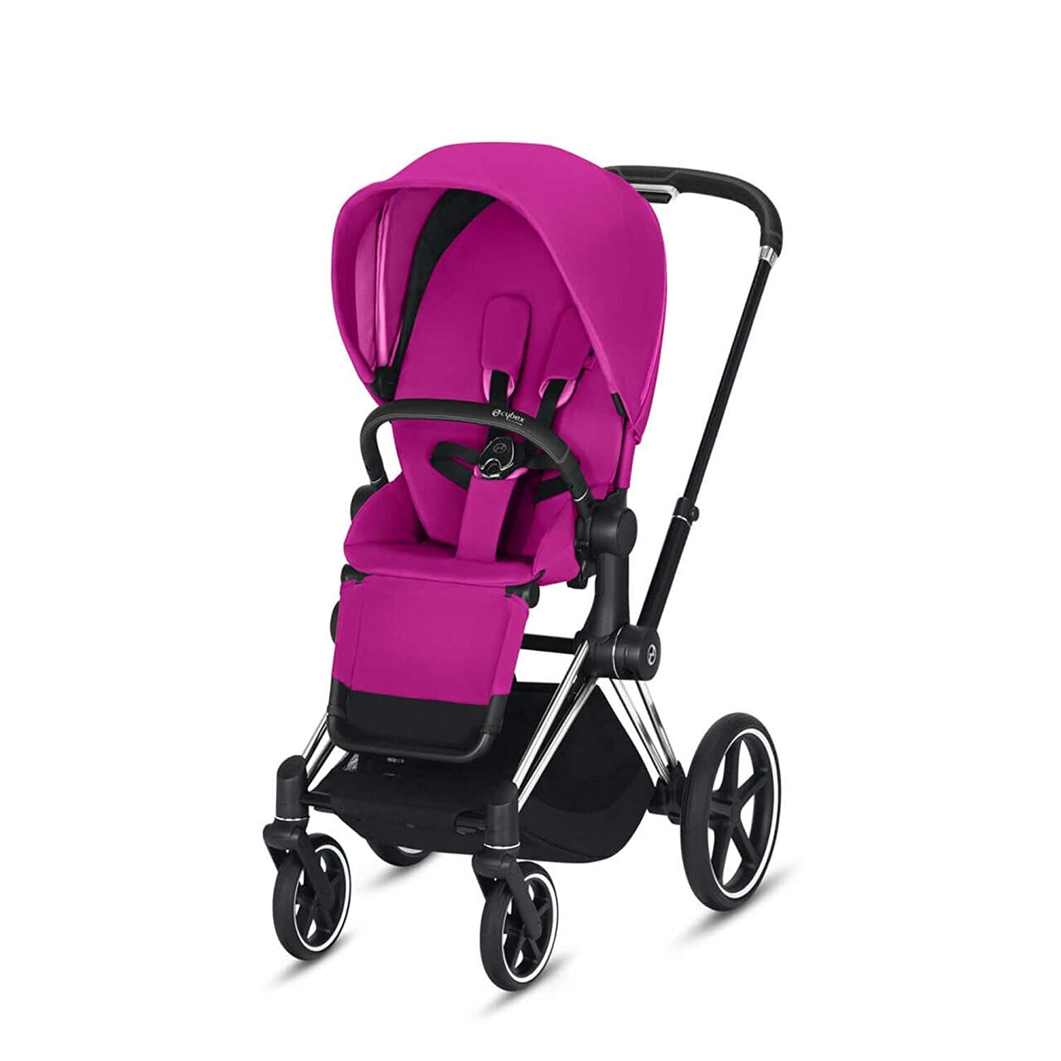 Cybex Priam 3 Complete Stroller, One-Hand Compact Fold, Reversible Seat, Smooth Ride All-Wheel Suspension, Extra Storage, Adjustable Leg Rest, Fancy Pink with Chrome/Black Frame