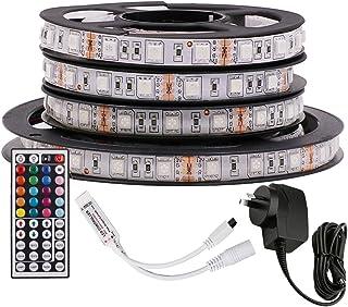 5M RGB LED Strip Lights, 12V 5050 300LEDs Strips Full Kit, Self Adhesive + 44 Key Ir Controller + AU Power Supply (Waterpr...