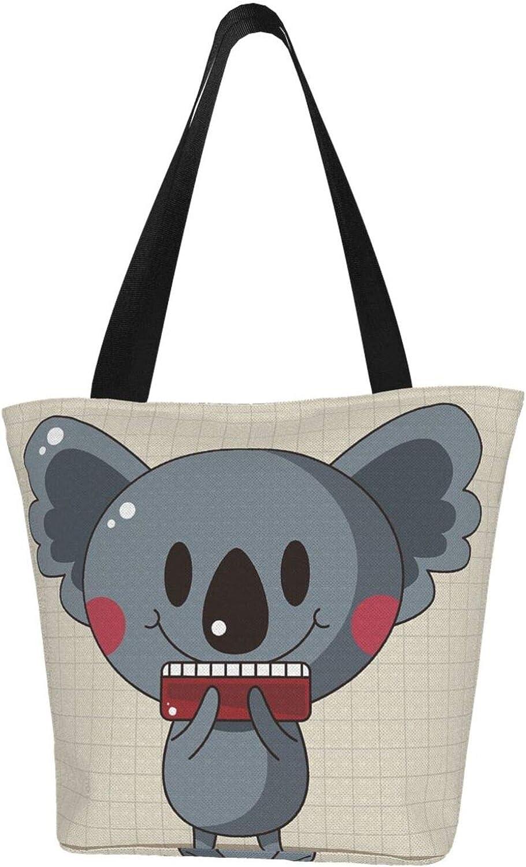 Cartoon Koala Baby Apricot Plaid Themed Printed Women Canvas Handbag Zipper Shoulder Bag Work Booksbag Tote Purse Leisure Hobo Bag For Shopping