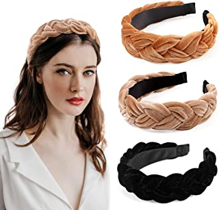 Bascolor Braided Velvet Headband 3pcs Cute Wide Thick Headband Turban for Women Spanish Vintage Style Alice Braid Hair Band Hair Accessories for Women Girls (Color4)