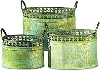 WHW Whole House Worlds Grand Tour Galvanized Zinc Planters, Palmetto Lace Pattern, Ovals, Carry Handles, Distressed Green and Rusty Patina, Various Sizes from 13 to 9 1/2 Inches Long