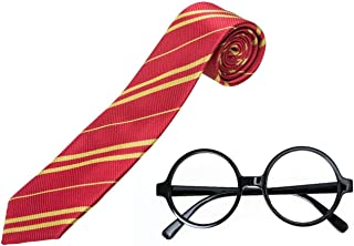 U-star Striped Tie with Novelty Glasses Frame for Cosplay Halloween Christmas