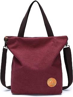 JANSBEN Damen Canvas Handtasche Schultertasche Casual Multifunktionale Umhängetaschen Strandtasche Groß für Arbeit Schule ...