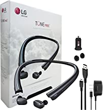 LG TONE FREE HBS-F110 inHDin Wireless Bluetooth Earbuds with Charging Neckband & Car Charger, Ear Gels + LG Wall Charger (Renewed)