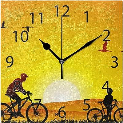XiangHeFu Reloj de Pared, Cuadrado, 8 x 8 Pulgadas, silencioso ...