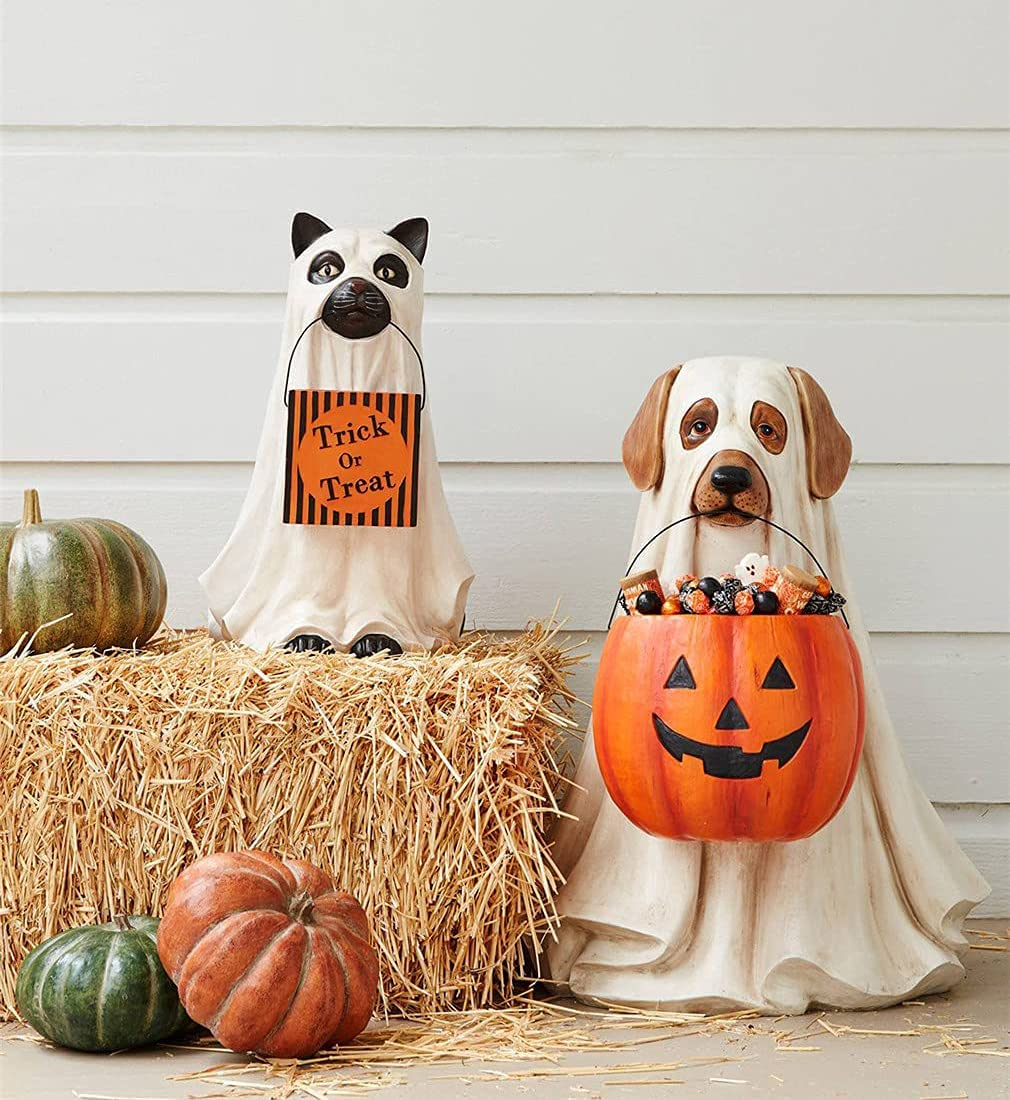 Max 59% OFF Ghost Dog Cat Cheap bargain Candy Bowl Holder Halloween S Snack - Pumpkin