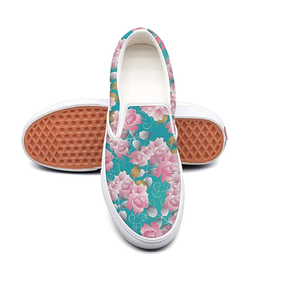 Blue Lace Flowers Pattern Casual Shoes for Women nursing Comfortable and Lightweight On Running Shoes