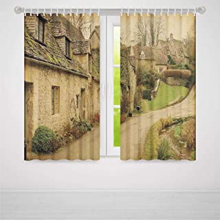 TecBillion Window Curtains Blackout,Farm House Decor,Window Drapes for Living Room Bedroom,British Town with Stone Houses Retro England Countryside Buildings Image,37Wx51L Inches
