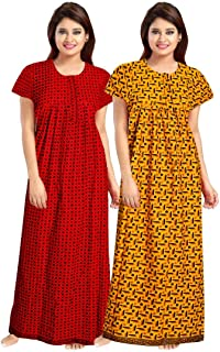 YUKATA aka Title1 Women's Cotton Printed Nighty (YT_1, Multicolour, Free Size) -2 Pieces Combo Item Name (aka Title)
