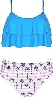SHEKINI Costumi da Bagno per Donna Bambina Bikini Due Pezzi Madre e Figlia Carino Elegante a Balze Regolabile Halter Stamp...