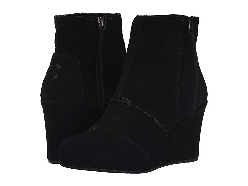 TOMS Desert Wedge High (Black Suede) Women
