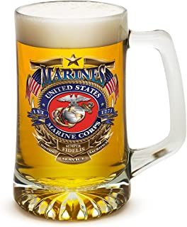 Beer Mugs with Handles – US Marine Corps Tankard Beer Mug – USMC Badge of Honor Marine Gifts for Men or Women – Beer Glass with Logo (25 Ounces)