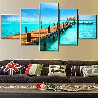 HOMOPK Cuadro en Lienzo 5 Parte Paisaje Mar Azul Caribe México 5 Pieza impresión Imagen Decor Pared de Fondo del hogar Sala Estar Poster Composición Moderno Art Pintura Regalo Marco