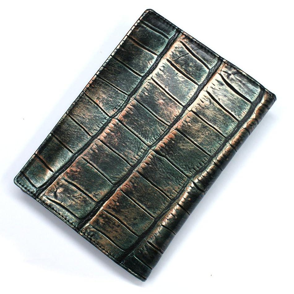 土曜日分析的なヶ月目CRLG1165-RETRO クロコダイル革 ワニ革 二つ折り カード入れ カードホルダー カードケース レザー 薄型カード入れ 大容量 大量収納 パスポートサイズ L.size ラグジュアリーレトロ