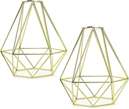 2 Pcs Vintage Cage Metal Lamp Shade - Motent Industrial Golden Metal Bird Cage Light DIY Ceiling Pendant Lights for Dining...