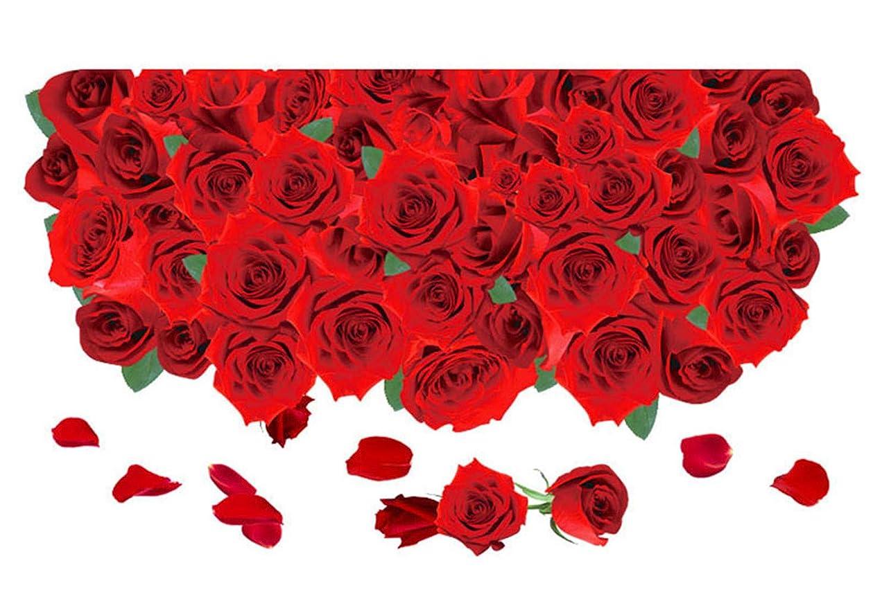 幸運ピット学んだChirstseason ウォールステッカー 3D 薔薇 ローズ 赤 インテリア リビング キッチン 玄関 廊下 お風呂 ホテル 店舗 装飾 ガラス 床 シール 剥がせる おしゃれ 壁紙 ウォールシール レッド
