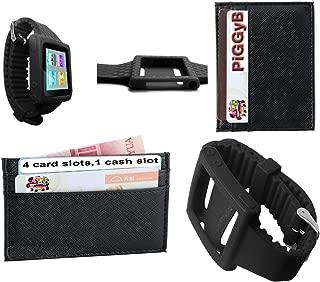 PiGGyB Hold It! Apple iPod Nano 6th Groovy Watch Band Leather Credit Card Holder Set (Black Black)
