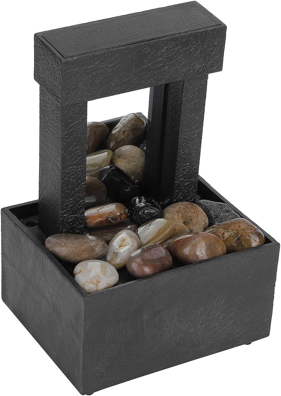 Fuente de Mesa, Fuente de Agua Interior LED USB Fuente de Mesa de Cascada iluminada con Piedras para la decoración del hogar de la Oficina