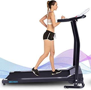 ANCHEER Folding Treadmill, 12 Preset Programs, Compact Treadmills with LCD Monitor Motorized, Pulse Grip, Indoor Walking Jogging Running Exercise Machine Trainer for Home Gym Office