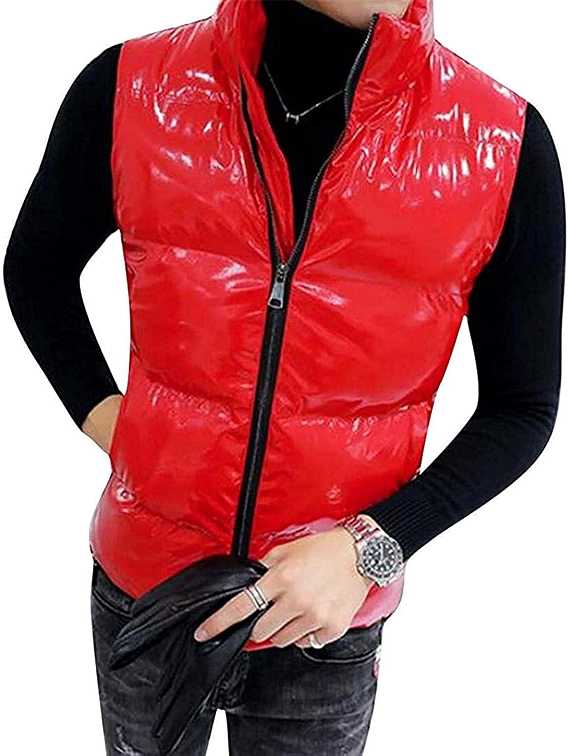 Men Zip Up Glossy Plus Size Sleeveless Stand Collar Quilted Vest Puffer Jacket Outerwear
