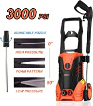 SUNCOO 3000PSI Electric High Pressure Washer, 2.4 GPM 1800W Portable Power Washer with Brass Copper Motor Long Spray Gun, Adjustable Nozzle, 20ft High Pressure Hose